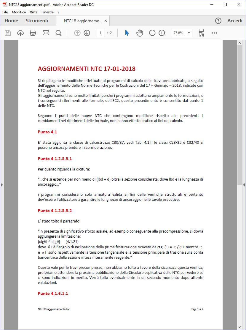 AGGIORNAMENTI NTC 17-01-2018