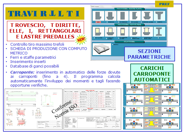 PROGRAMMA DI CALCOLO E DISEGNO TRAVI T ROVESCIO, T DIRITTO, L I, RETTANGOLARI